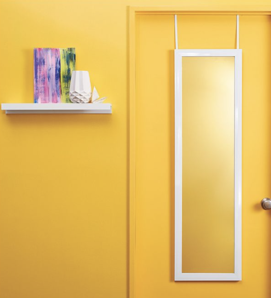 hanging over the door mirror with white frame from Target
