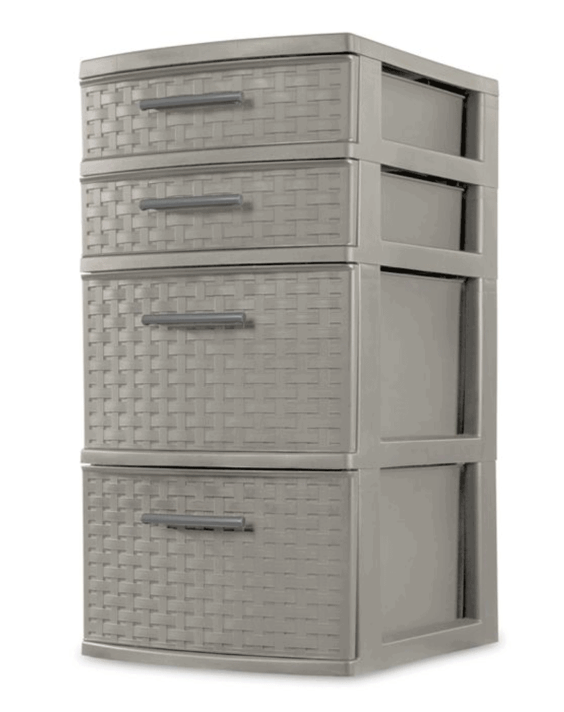 grey plastic drawers with woven pattern from Target