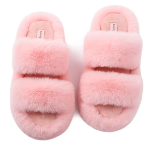 pink fuzzy slippers from Amazon