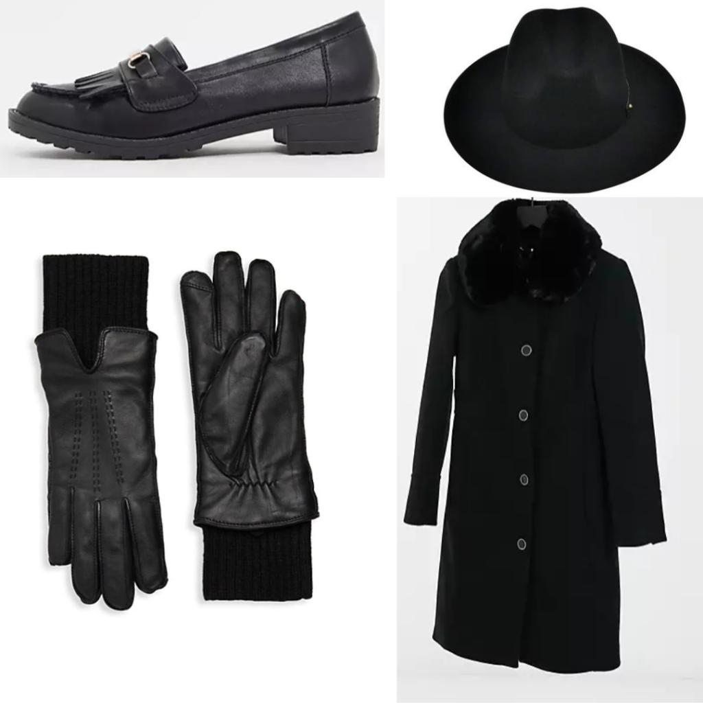 Kaz Brekker outfit with black fur coat, black gloves, loafers and black fedora.
