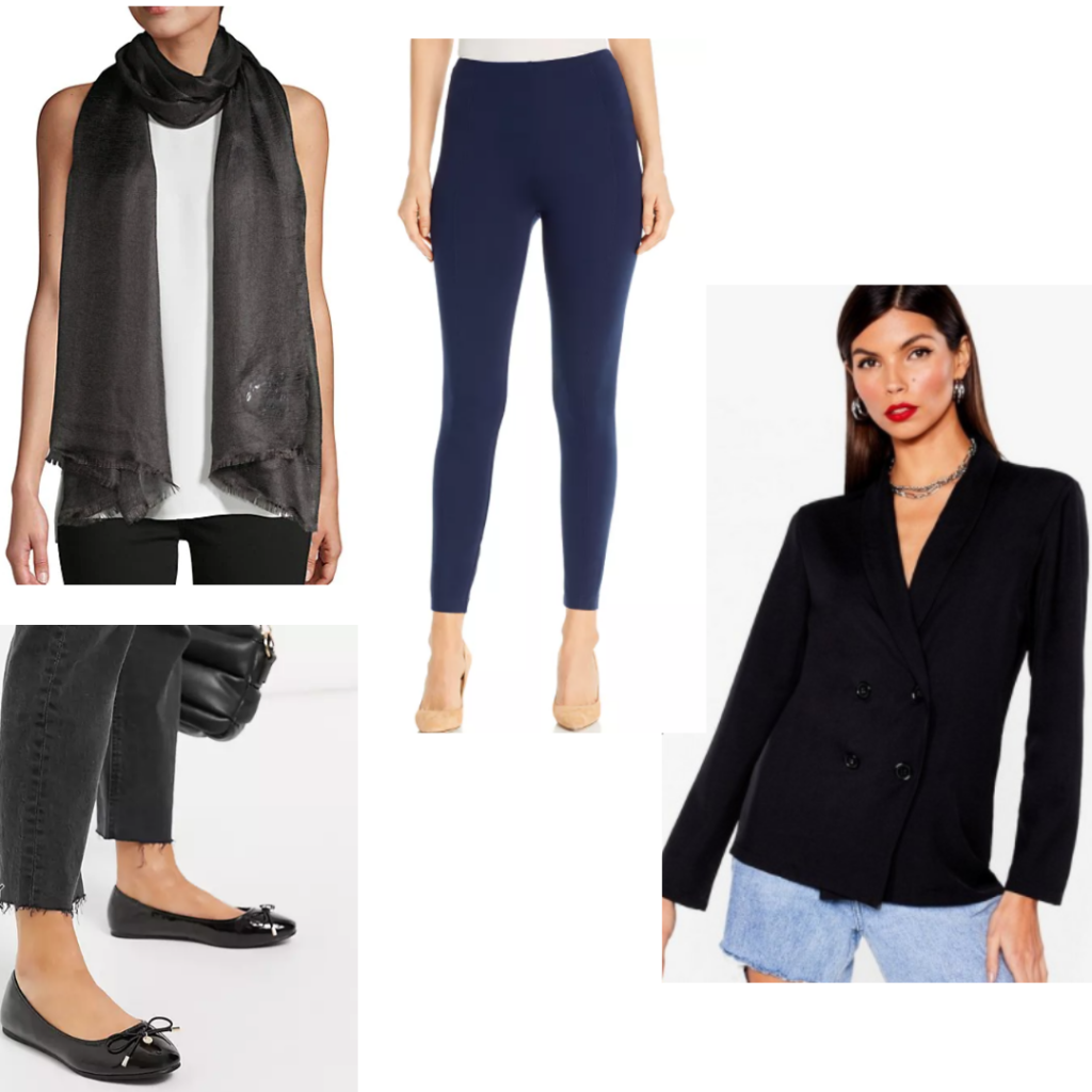 Inej Ghafa outfit with ballet flats, black blazer, scarf and blue leggings.