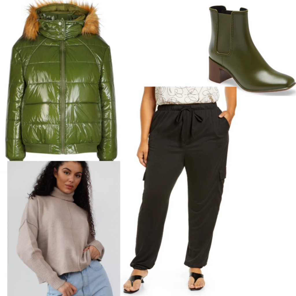 Mal Oretsev outfit with puffer jacket, green boots, cargo pants and jumper.