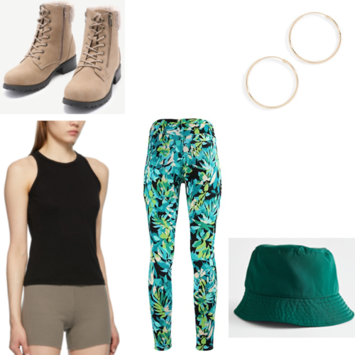 On the Come Up inspired outfit with blue and green printed leggings, green bucket hat, black tank top, gold hoop earrings, and tan combat boots with fur lining