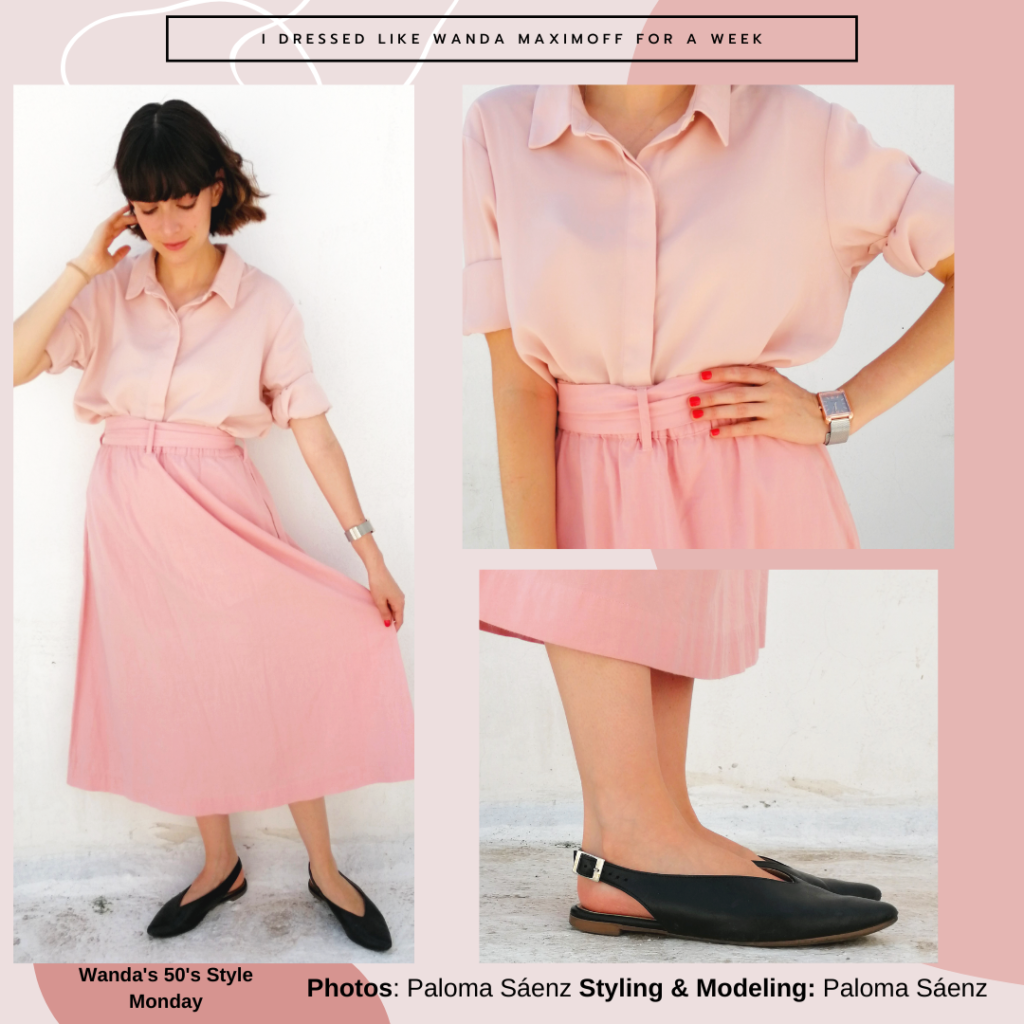 Outfit inspired by Wanda Maximoff in WandaVision: 1950s outfit with pink skirt, button-down shirt, black flats