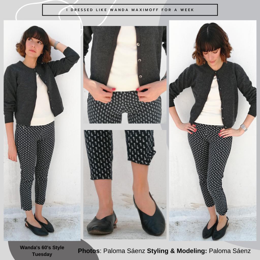 Wanda Maximoff outfits: Wandavision inspired 1960s outfit with polka dot pants, black flats, white top, black cardigan