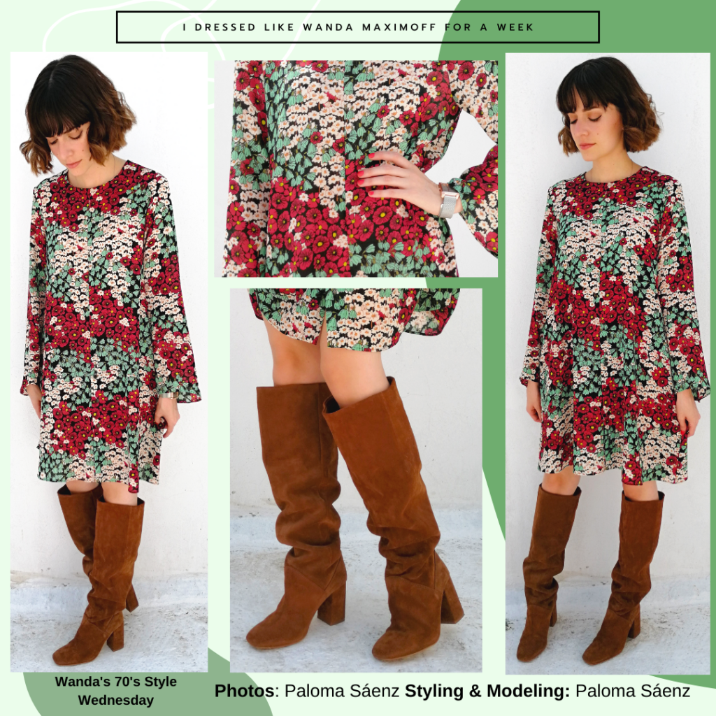 Wanda Maximoff outfit from the 1970s: Patterned flowy sleeved dress, knee high boots in brown