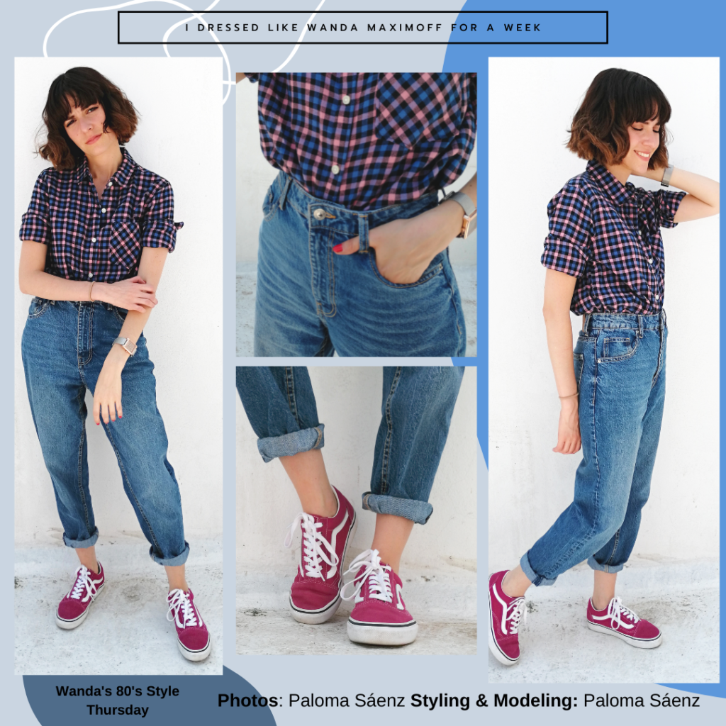 Wanda Maximoff outfit from the 1980s episode of Wandavision: High waisted jeans, burgundy Vans sneakers, plaid shirt