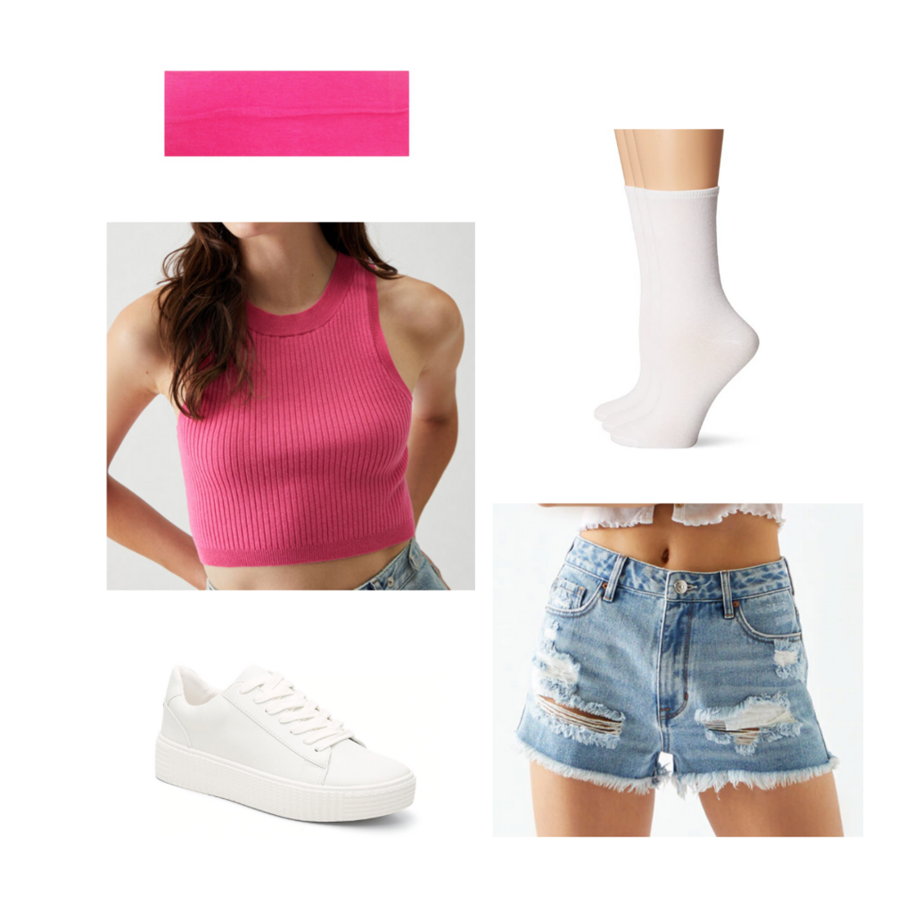 Amusement park outfit #1: Denim shorts, white sneakers, pink crop top, ankle socks, pink headband