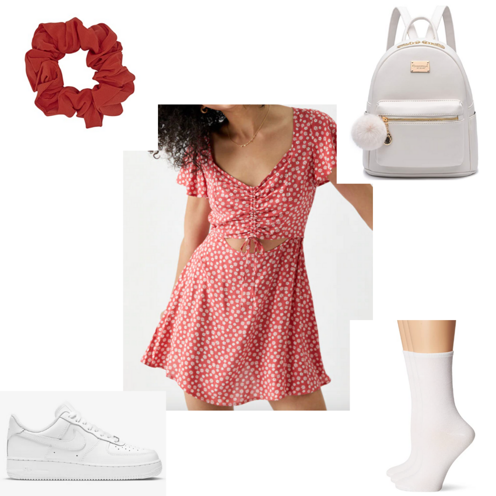 Amusement park outfit #2: Dress outfit with red dress, white sneakers, white mini backpack