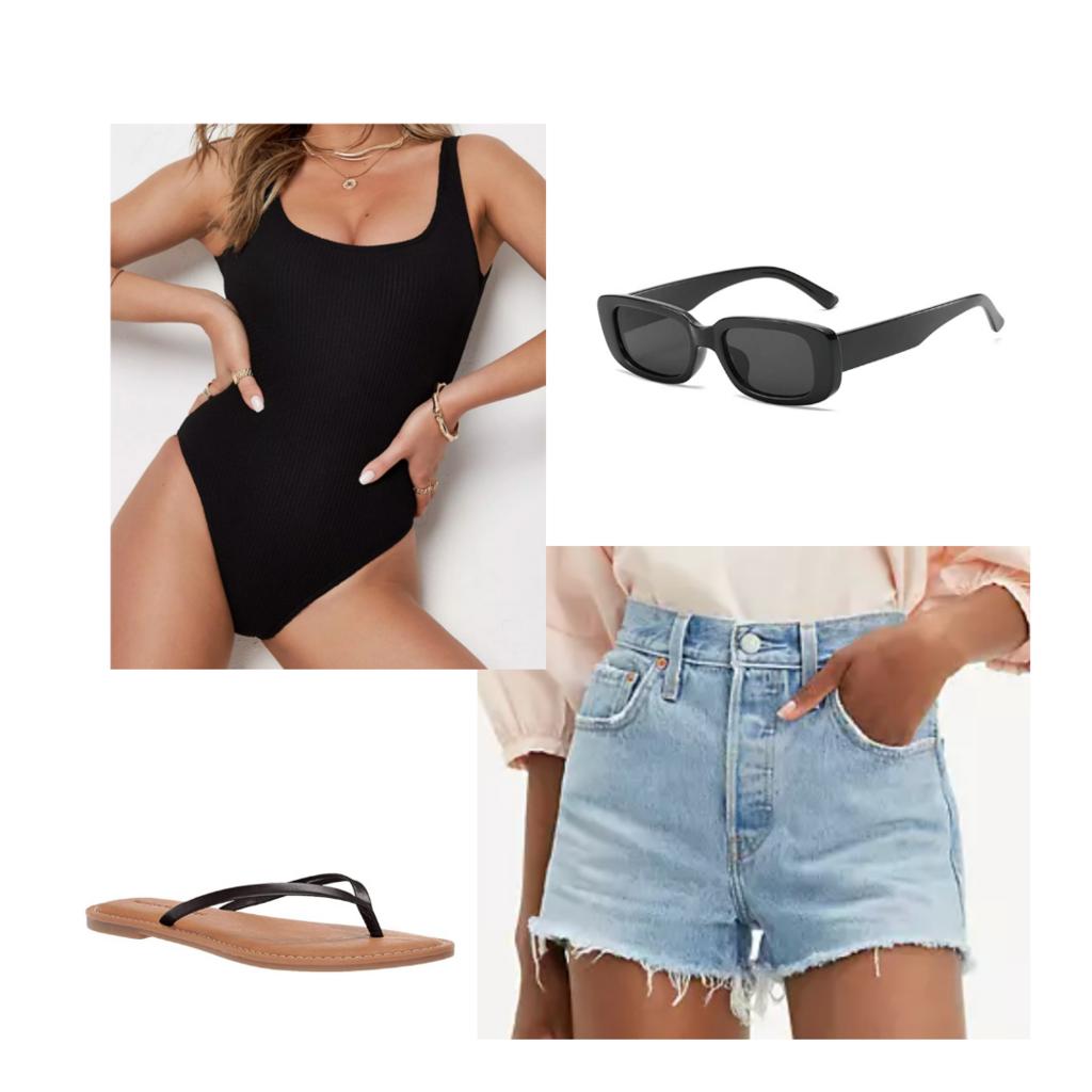Amusement park outfit #3: Outfit for a water park with flip flops, denim shorts, black one-piece bathing suit, sunglasses