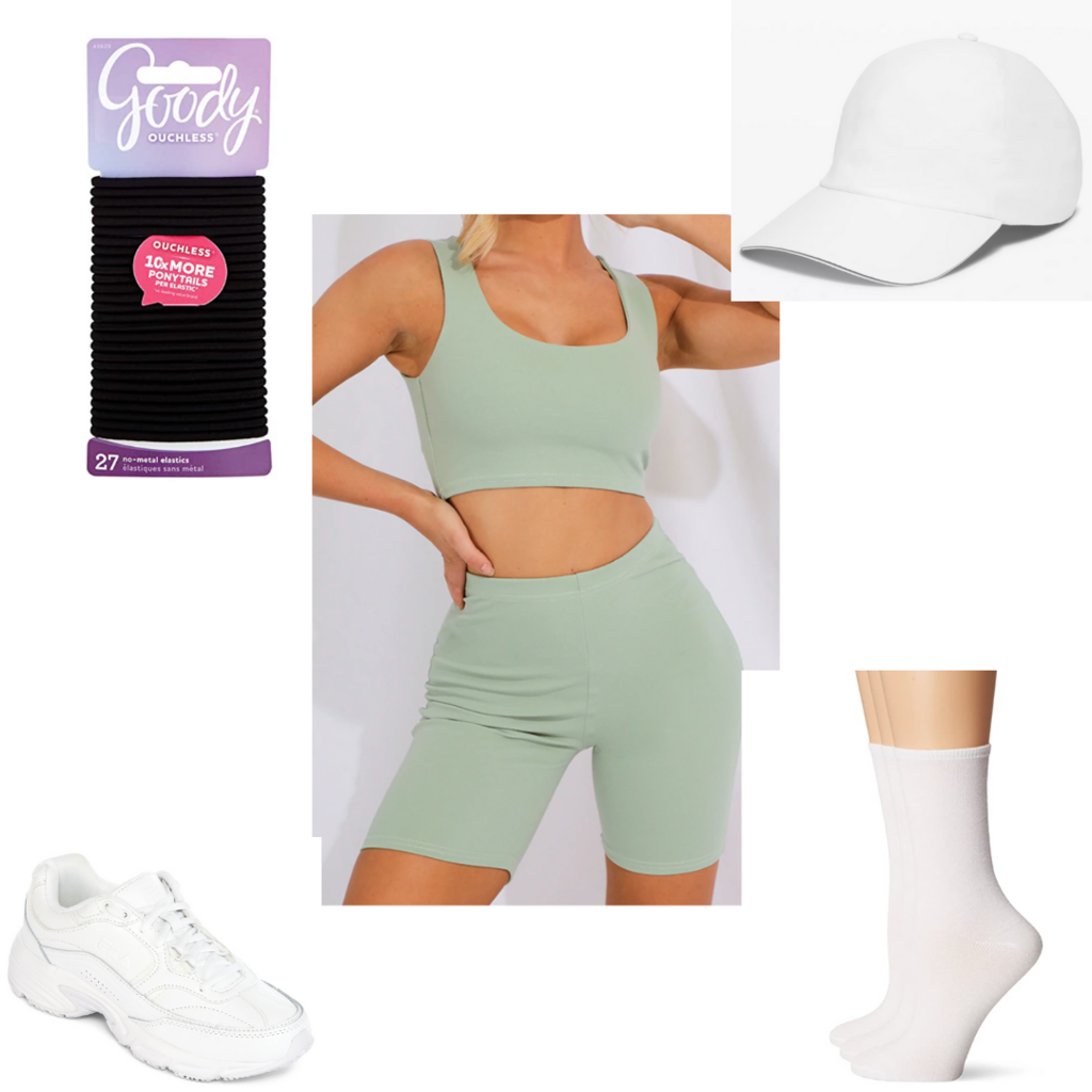 Amusement park outfit #4: Cute bike shorts and sports bra set with white sneakers and white hat