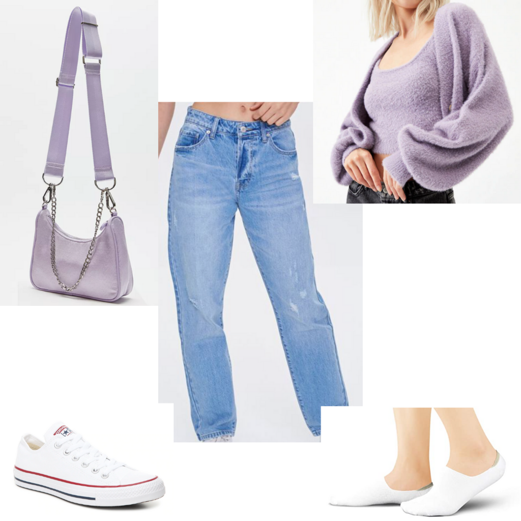 Amusement park outfit #5: Outfit for nighttime with wide leg jeans, fuzzy cardigan and crop top, white sneakers, purple crossbody purse