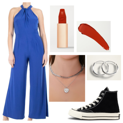Olivia Rodrigo sour press outfit: blue halter neck jumpsuit, black high top converse, silver hoop earrings, silver layered chain necklaces, red lipstick
