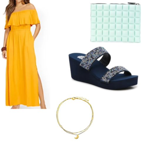 The siren inspired outfit with yellow bohemian dress, blue wedge sandals, gold necklace and mint green purse.