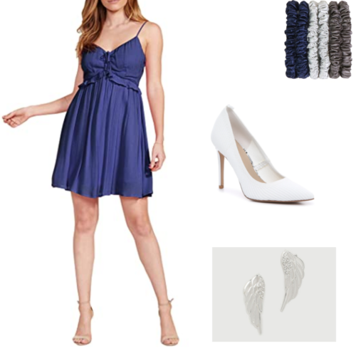 The raven and the dove inspired outfit with blue dress, scrunchies, white pumps, and wing earrings.