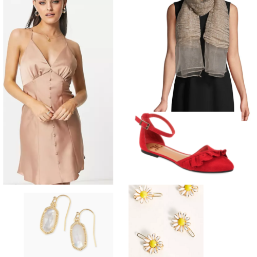 Chain of gold inspired outfit with silky rose dress, scarf, red sandals, daisy hair clips, and earrings.