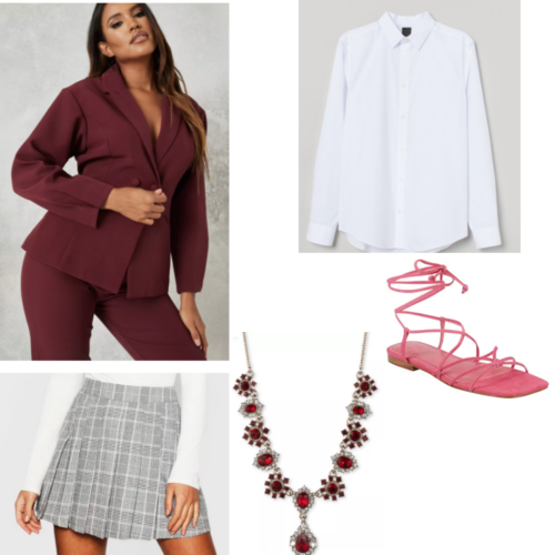 Of curses and kisses inspired outfit with maroon blazer, white buton-up shirt, grey plaid skirt, jeweld necklace and strappy pink sandals.