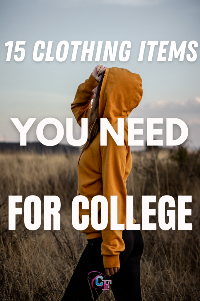 15 clothing items you need for college, girl standing in a field wearing a mustard hoodie