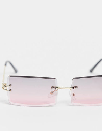 Asos My Accessories London rimless rectangle sunglasses with pink lens