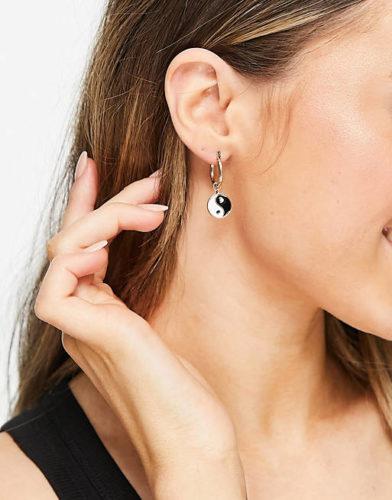 Asos Liars & Lovers yin-yang and peace huggie hoop earrings in gold