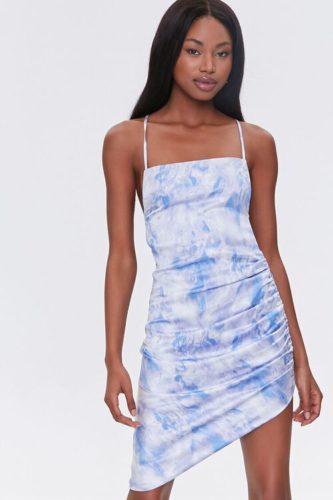 Ruched Cloud Wash Mini Dress