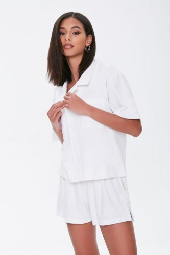 Kendall & Kylie Notched Terrycloth Shirt
