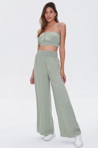 Crop Top & Wide-Leg Pants Set