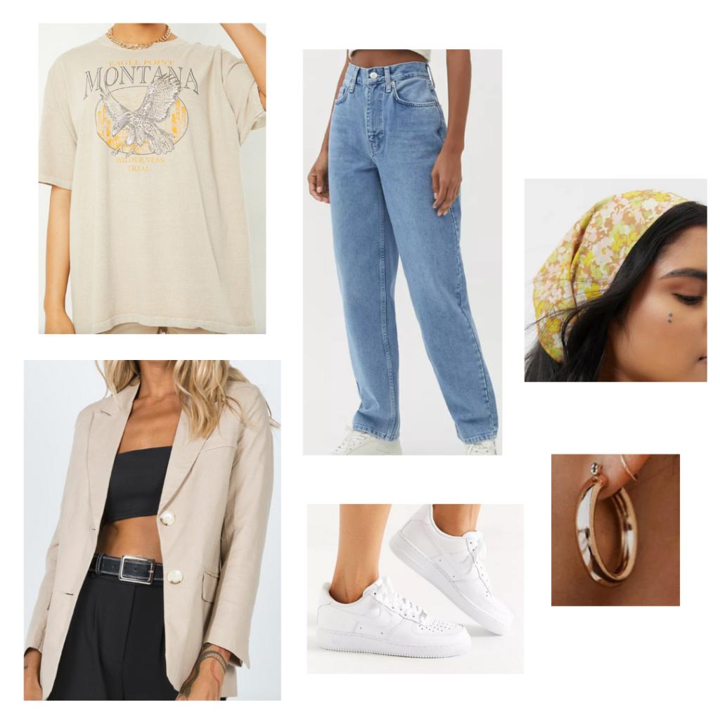 Sample Look: tan blazer, tan printed graphic tee, boyfriend jeans, white sneakers, floral bandana