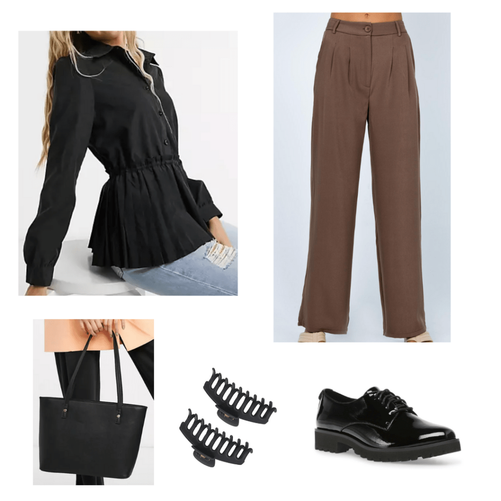 STEM internship outfit with brown pants, tunic top, hair clips, black chunky heeled loafers