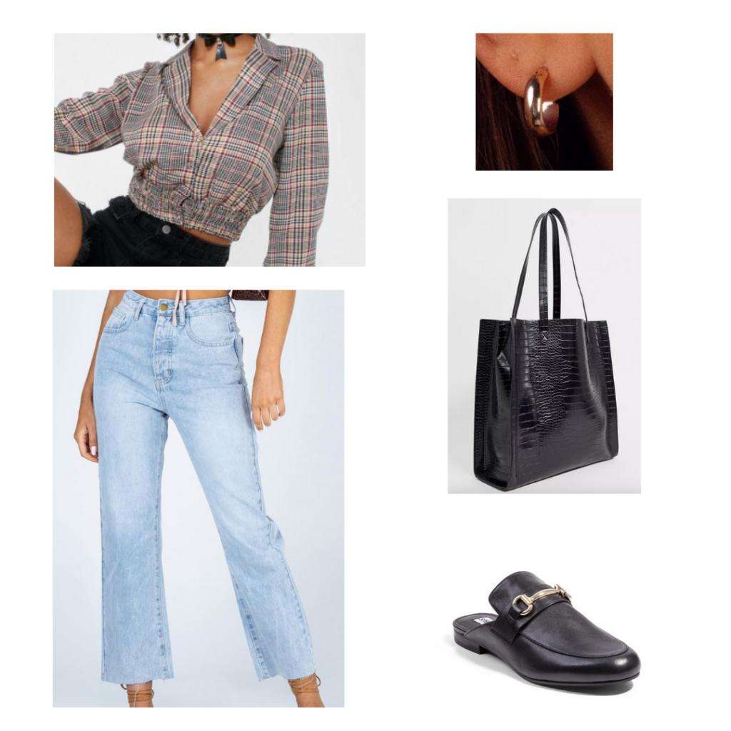 Sample Outfit: cropped plaid shirt with lapels, distressed boyfriend jeans, black crocodile tote bag, flat black loafer slides