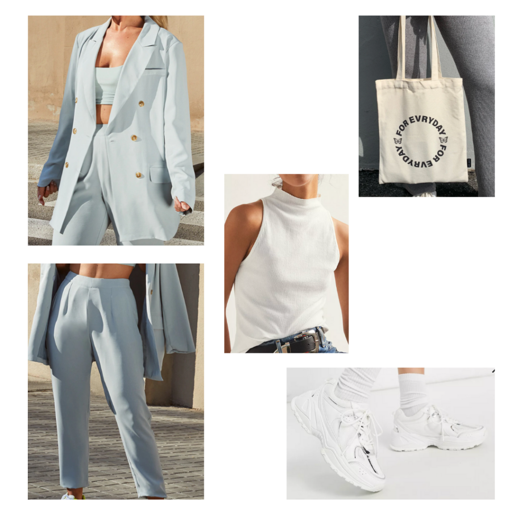 Sample look: baby blue oversized suit set, mock neck white tank top, chunky white sneakers, tote bag