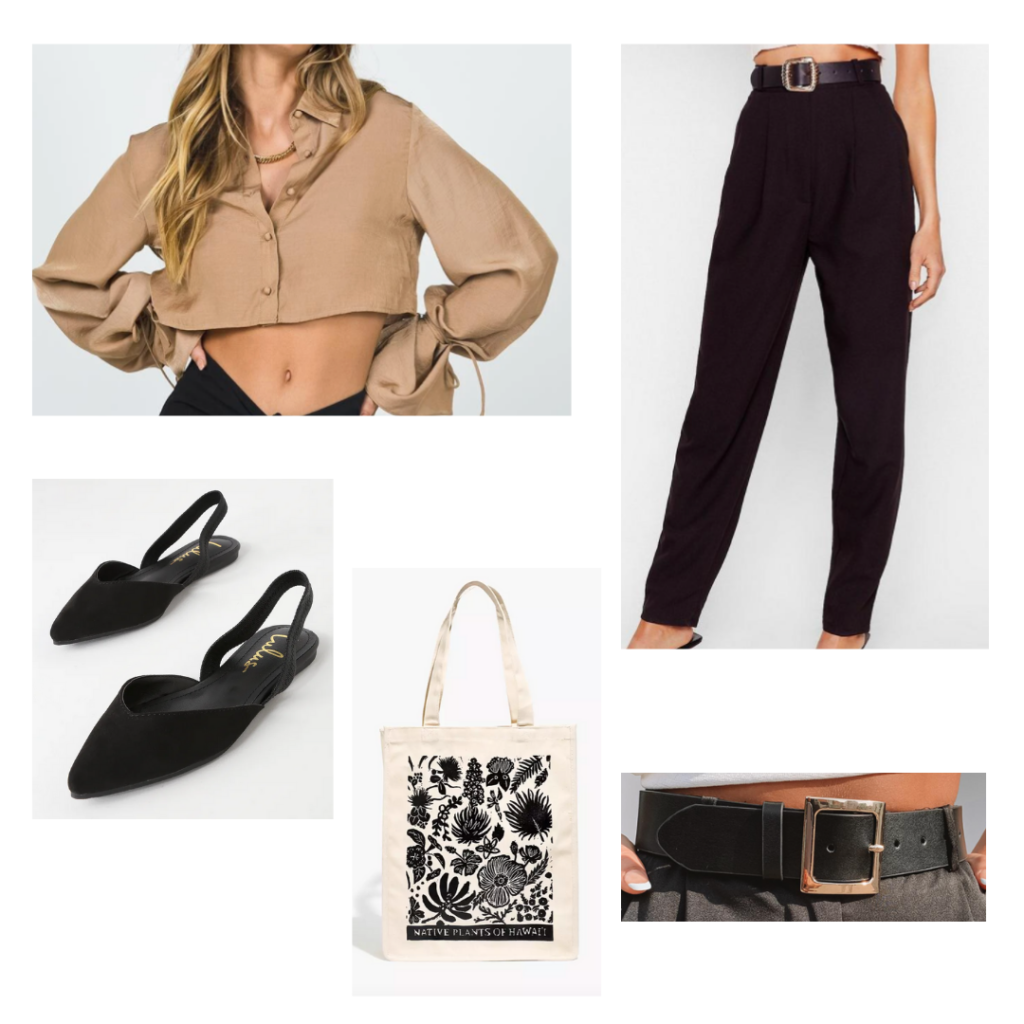 Outfit Idea: cropped tan button-up shirt, high-waisted black grousers, black pointed toe flats, chunky black belt with gold buckle
