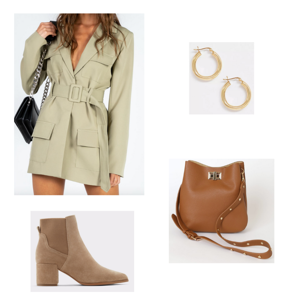 Internship Outfit: khaki belted blazer dress, taupe chunky booties, brown bucket bag purse, gold hoop earrings