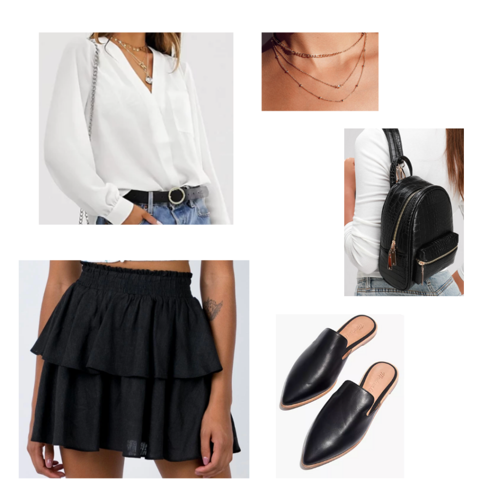 Internship Outfit Idea: white silky button-up shirt, black ruffled skirt with elastic band, flat black mule loafers, black mini backpack, gold layered necklaces