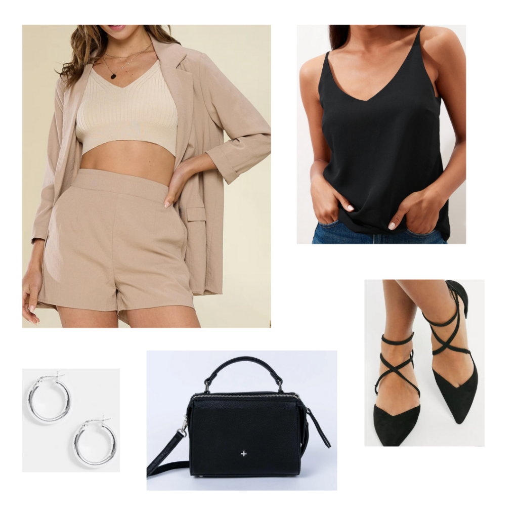 Sample look: tan short suit set, black silky top, lace up black flats, silver hoops, simple black handbag