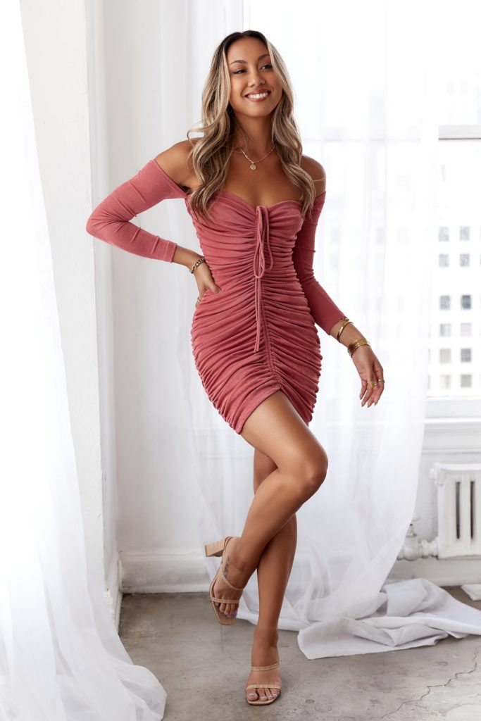 Pink ruched front dress from Hello Molly