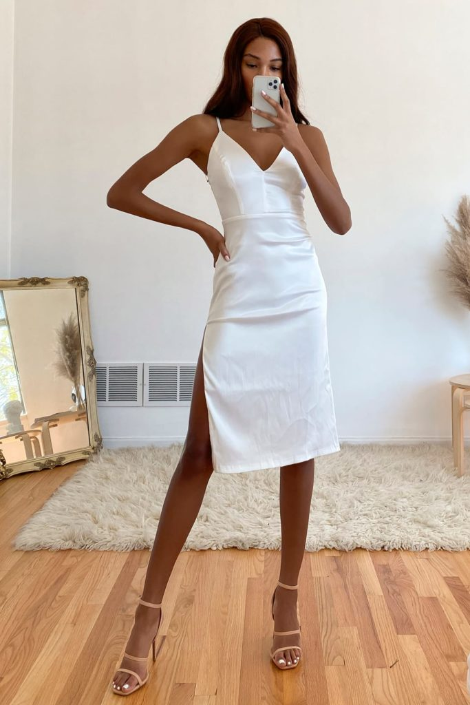 Shimmery white graduation dress from Lulus
