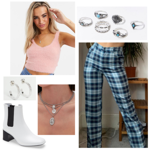 Olivia Rodrigo sour album inspired outfit: fuzzy pink crop top, blue plaid trousers, white booties, silver and turquoise rings
