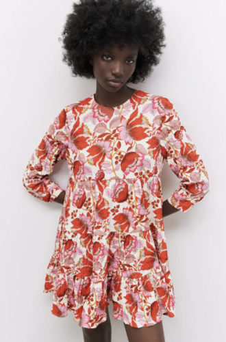 Zara Summer 2021 Collection: red and pink floral print long-sleeve dress