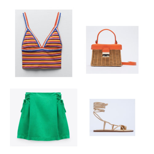 Zara summer 2021 collection outfit 1: retro orange blue and white crop top, green skirt, strappy flat sandals, orange and wicker picnic bag