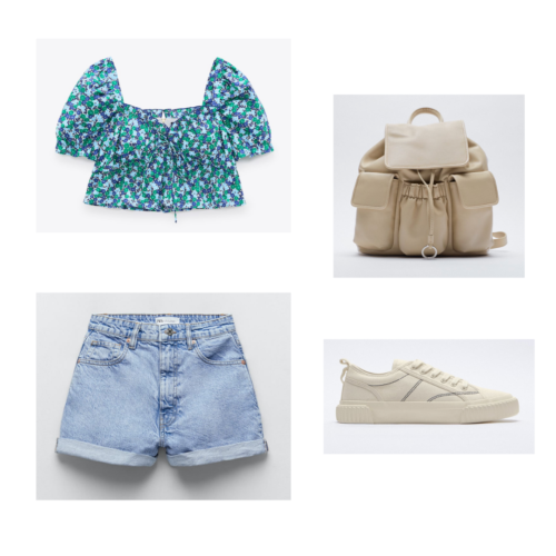 Zara summer 2021 collection outfit 10: floral print blue and green peasant crop top, denim shorts, offwhite sneakers, offwhite backpack purse