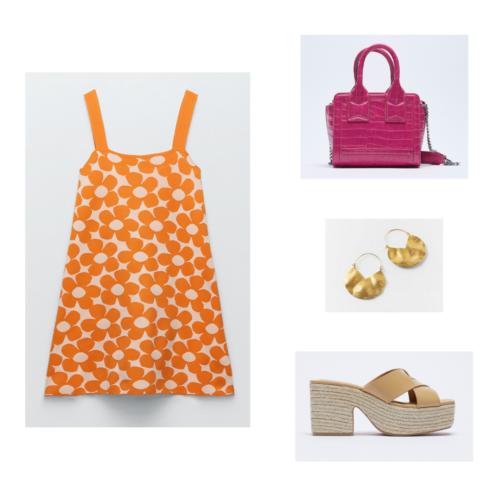 Zara summer 2021 collection outfit 11: orange floral retro mini dress, fuschia mini purse, gold earrings, platform espadrille sandals