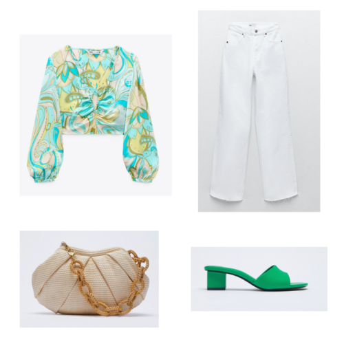 Zara summer 2021 collection outfit 12: blue and yellow paisley crop top, white jeans, tan round purse, green sandals