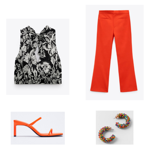 Zara summer 2021 collection outfit 13: black paisley print crop top, red trousers, red pumps, rainbow beaded hoop earrings