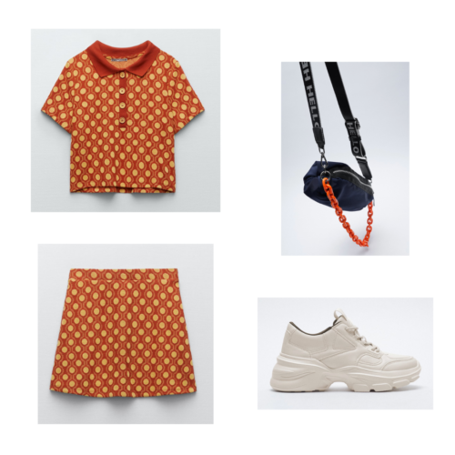 Zara summer 2021 collection outfit 14: orange and yellow polka dot matching set, chunky beige sneakers, black crossbody bag