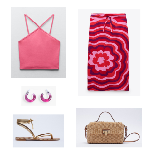 Zara summer 2021 collection outfit 15: pink halter top, pink and red midi skirt with floral design, pink hoop earrings, woven picnic basket purse, strappy flat sandals