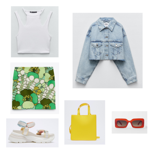 Zara summer 2021 collection outfit 16: white cutout tank top, green printed miniskirt, oversized crop denim jacket, yellow tote bag, chunky beige sneakers, square red sunglasses
