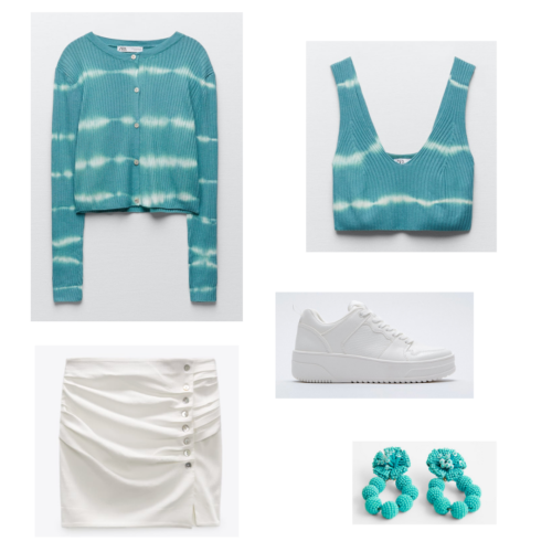 Zara summer 2021 collection outfit 2: blue tie-dye cardigan and matching bra set, white ruffled mini skirt, white sneakers, bright blue beaded earrings