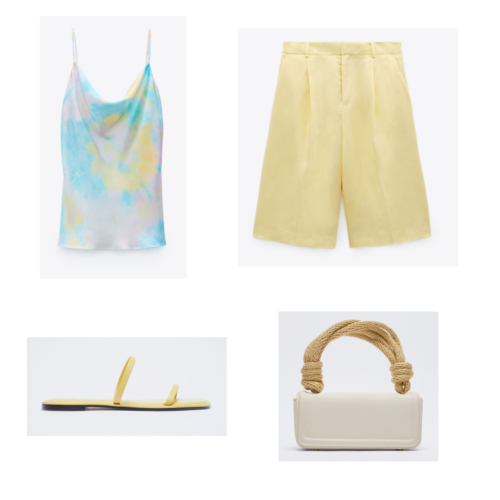 Zara summer 2021 collection outfit 3: pastel tie dye cami, yellow board shorts, yellow flat sandals, rope handle purse