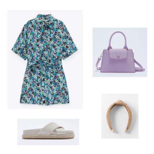 Zara summer 2021 collection outfit 4: blue floral print romper, flat tan sandals, braided headband, lavender handbag